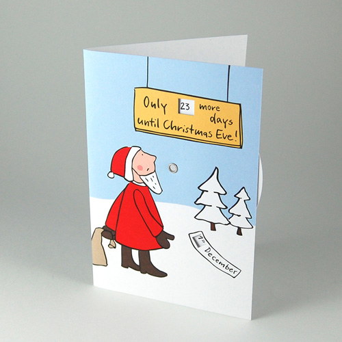 Only ... more days until Christmas Eve! Christmas Cards with rotating disc